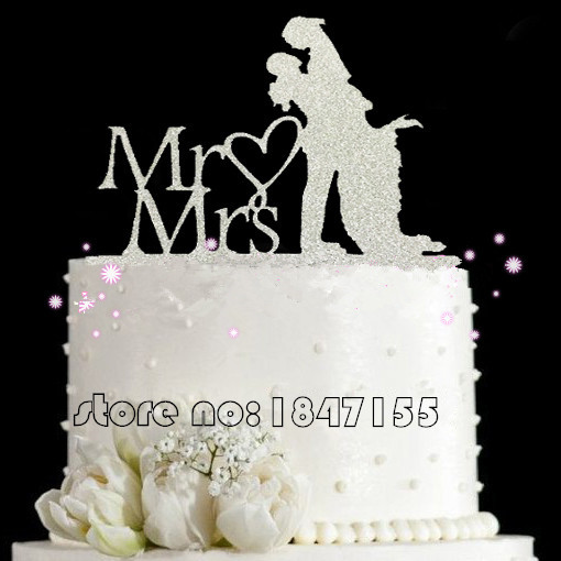 Bling Bling Silver MrMrs Acrylic Wedding Cake Toppers Bride And