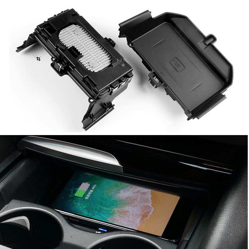 Car QI wireless phone charger phone holder center console armrest charging <font><b>case</b></font> <font><b>for</b></font> <font><b>BMW</b></font> 5 Series G30 G31 G38 <font><b>for</b></font> <font><b>iPhone</b></font> <font><b>8</b></font> X image
