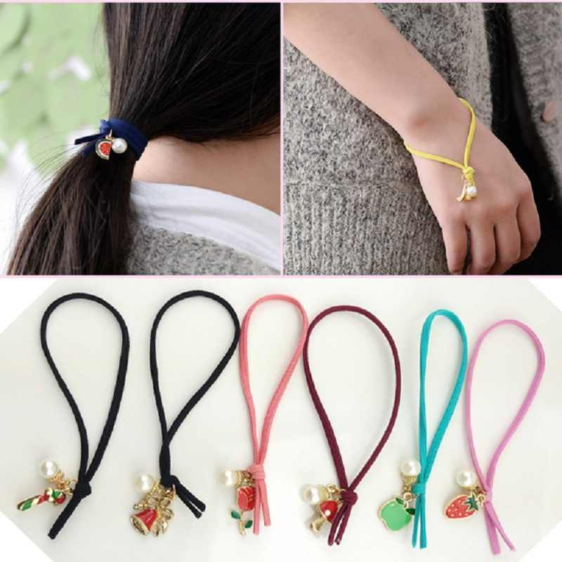 New Hot Fashion Lovely Headwear Knotted Hair Jewelry Double Bow Hair Ring Seamless Rubber Band Hair Rope for Women Girl Gift