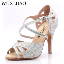 WUXIJIAO hot Black and white flash cloth Womens Latin dance shoes Ballroom dance shoes Party Square dance shoes soft heel 7.5cm