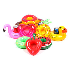 17 types Mini Floating Cup Holder Pool Swimming Water Toys Party Beverage Boats Baby Pool Toys Inflatable Flamingo Drink Holder(China)