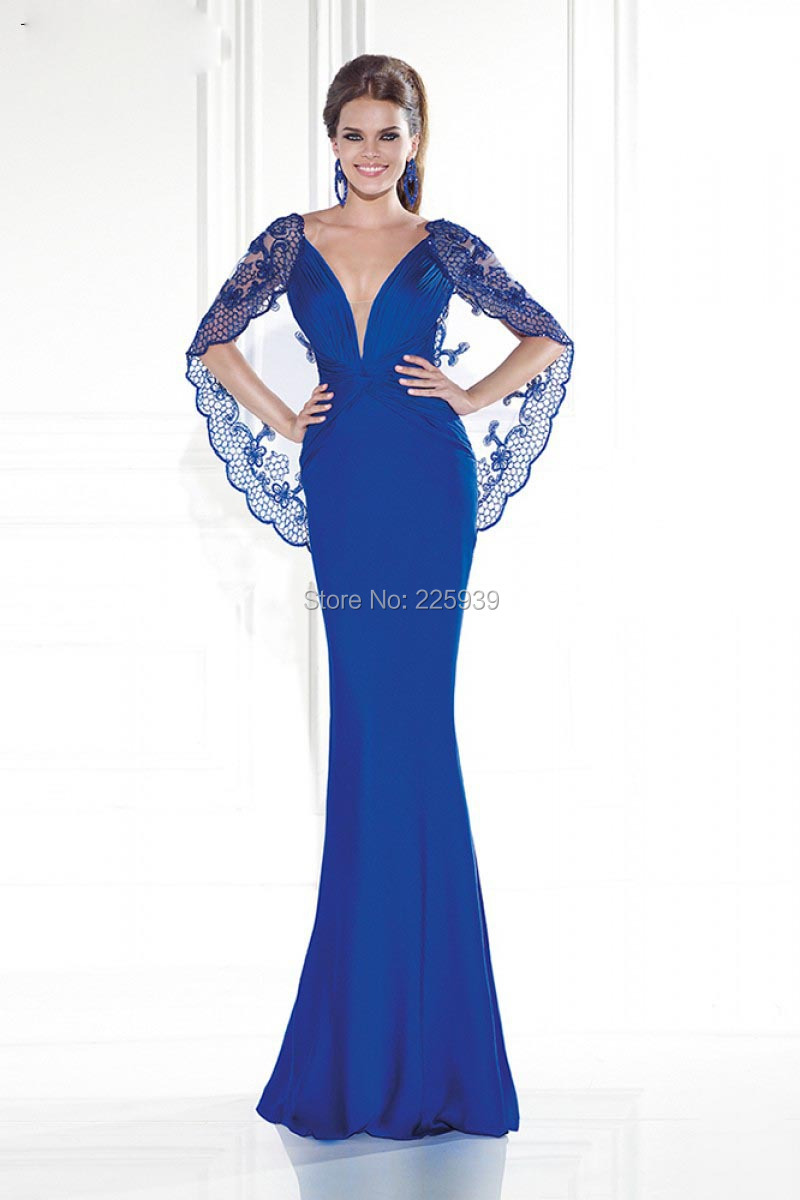 375788d86d Elegant Royal Blue Evening Dresses Fashion V Neck Designer Beautiful ...