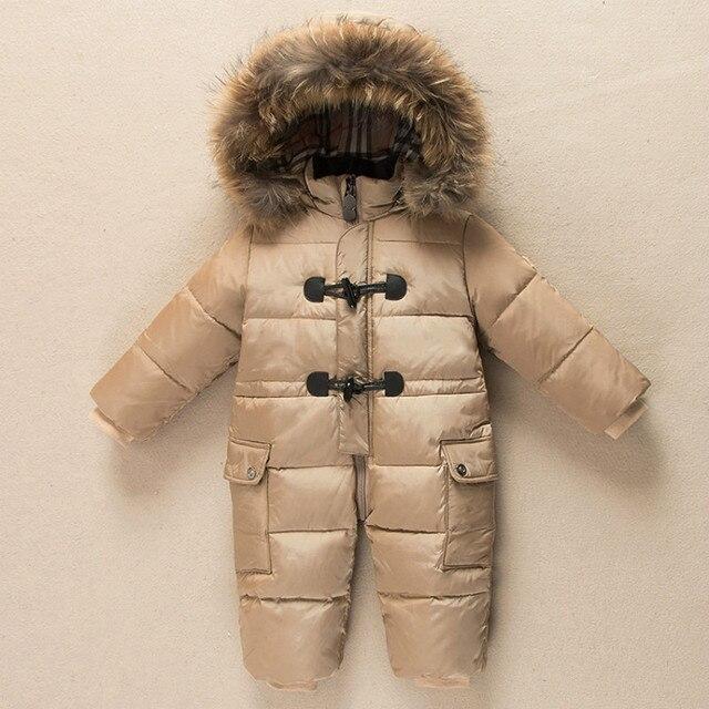 Бесплатная доставка белая утка вниз ребенка Ползунки зима унисекс детские snowsuit толщиной водонепроницаемый ползучая одежда со съемным мехом