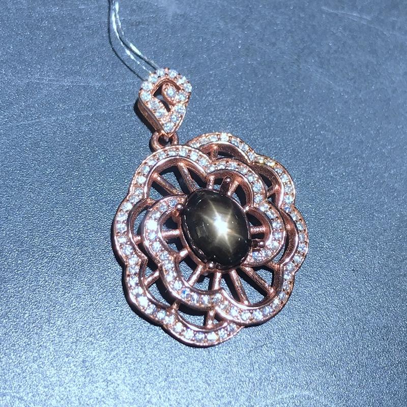 Uloveido Women Star Light Sapphire Gemstone Pendant Necklace Women Anniversary 925 Sterling Silver Jewelry Necklace FN324