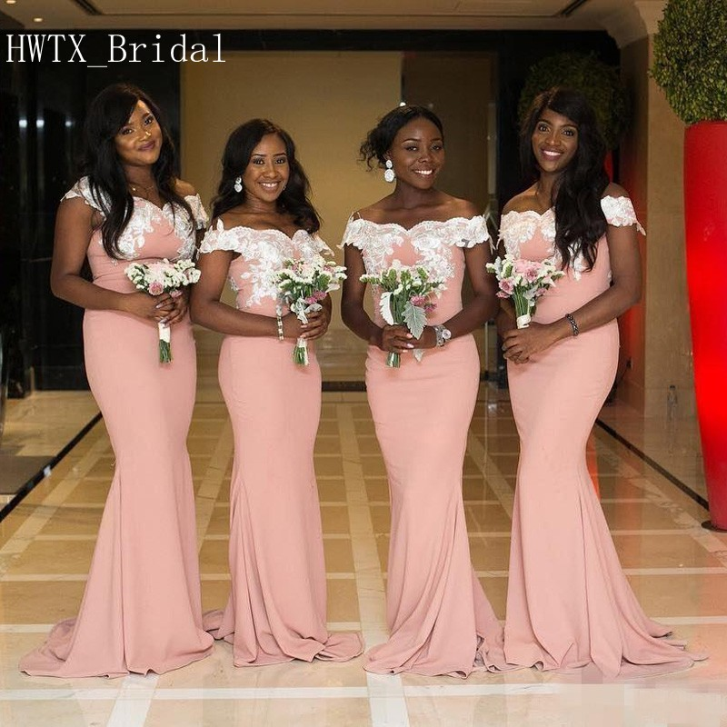 aaf421ec7b1 Peach Pink Long Bridesmaid Dresses Off Shoulder Short Sleeves Mermaid Party  Gowns With White Lace Applique 1.12
