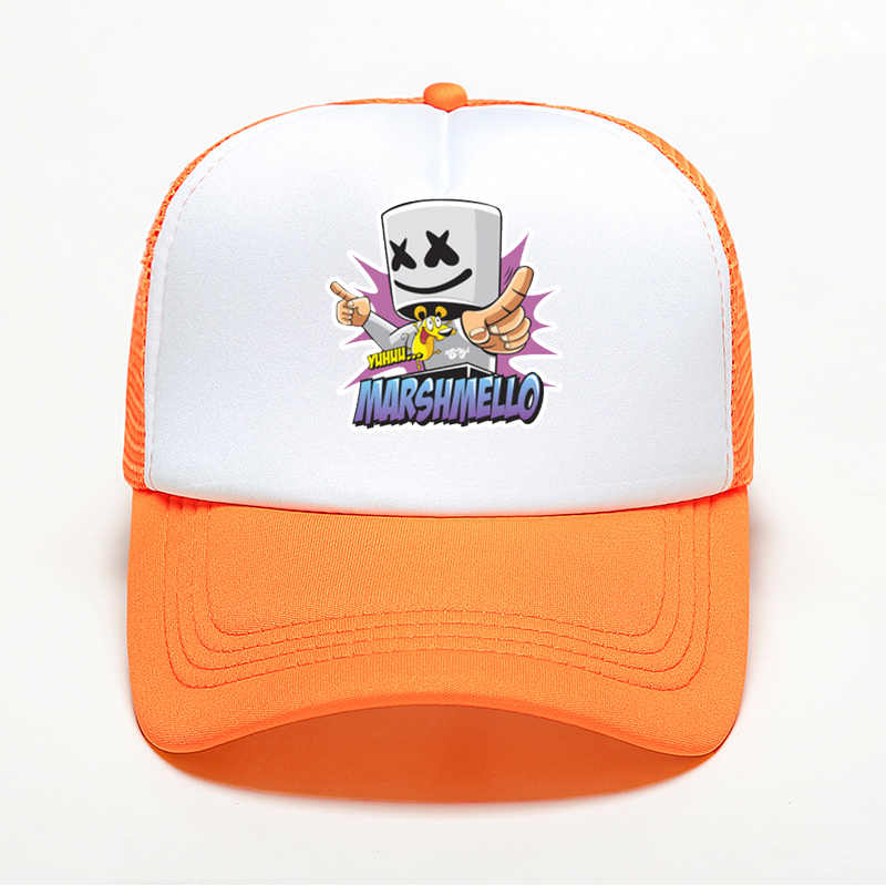Модная разноцветная бейсболка для мужчин и женщин с качественным принтом DJ Marshmello Кепка в стиле хип-хоп летняя дышащая сетчатая шляпа дропшиппинг