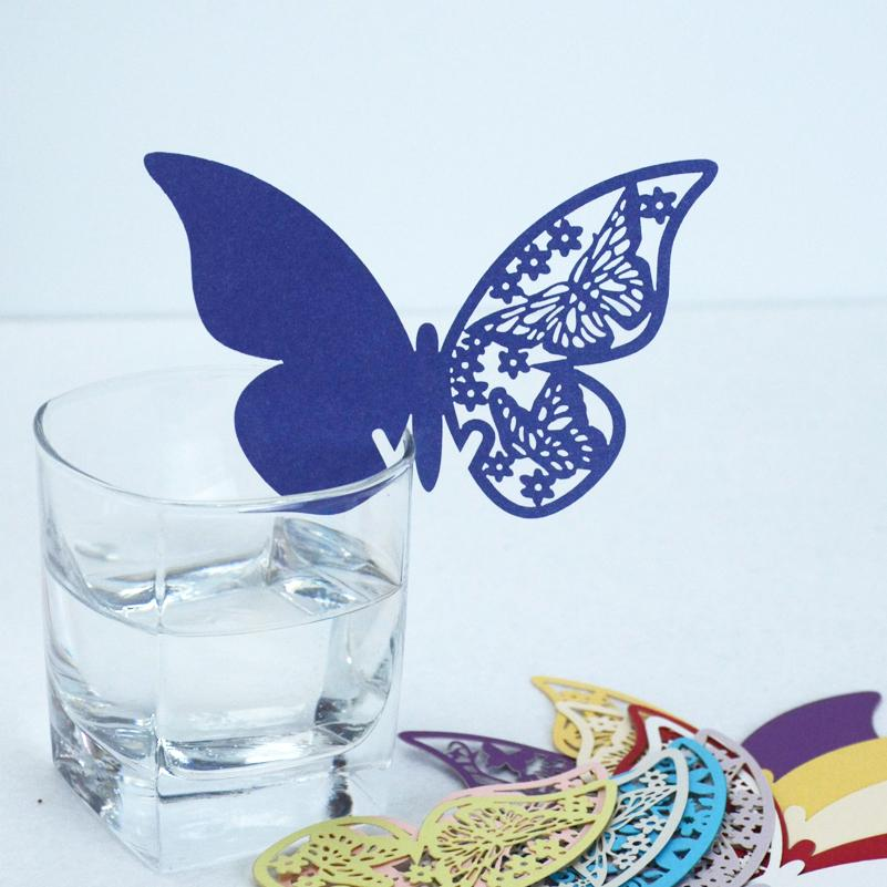 Hot Sell 48Pcs/Lot Wedding Favor Navy Blue Butterfly Place Card Cup Card Name Card On Wine Glass Party Supply Desk Decoration