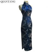 Elegant Navy Blue Ladies Satin Halter Cheongsam Mujere Vestido Summer Long Qipao Backless Costume Dress S