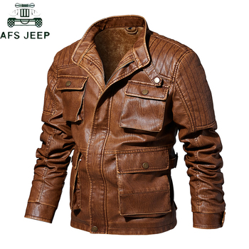 2019 Autumn Winter Thick Warm Motorcycle Leather Jacket Men vintage Stand Collar Multi-pocket design Fleece Leather Coat Male