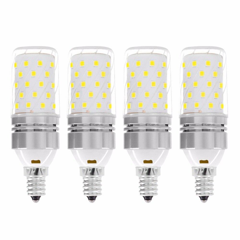 YWXLight E12/E14 LED lumière de maïs 60 LED 12 W remplacement équivalent 100 W ampoule à incandescence blanc froid/blanc chaud 85-265 V (paquet de 4)