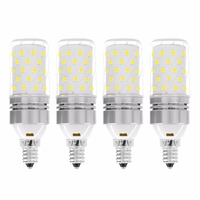 YWXLight E12/E14 LED Corn light 60LED 12W Equivalent Replacement 100W Incandescent Bulb Cold White/Warm White 85 265V (4 Pack)