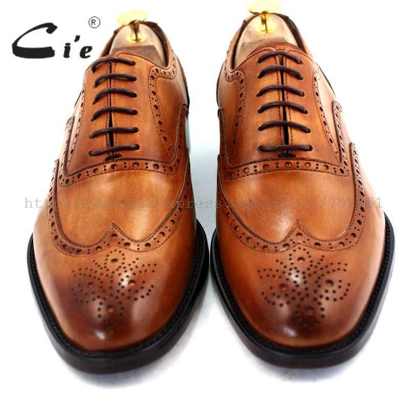Cie รอบ toe full brogue รองเท้าผู้ชายทำด้วยมือหนังผู้ชายรองเท้าหนังผู้ชาย oxford รองเท้าสี brown No. OX208