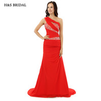 H S BRIDAL One Shoulder Red Mermaid Women Evening Gowns New Arrival 2017 Fitted Fashion Party