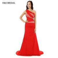H & S CÔ DÂU Một Vai Red Mermaid Phụ Nữ Evening Gowns New Arrival 2017 Được Trang Bị Thời Trang Đảng Evening Dresses