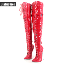 jiauowei 18CM Super High Heel Black Patent Metal Spike Heel Sexy Fetish Buckle Strap Over-Knee Thigh High Boot Plus Size 36-46