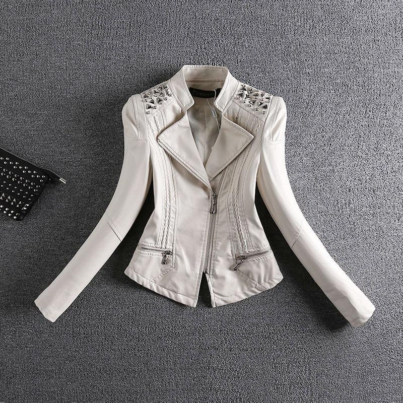 Plus Size M-4XL Fashion 2018 Autumn Winter Women PU   Leather   Jacket Female Slim Rivet   Leather   Jacket Women's Outerwear 101700