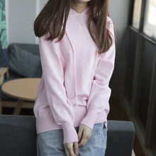 Kpop Autumn Winter Women Hoodies Sweatshirts Long Sleeve Knitted Solid Wool Harajuku Female Pullover Polerones Mujer Jumper Pink(China)