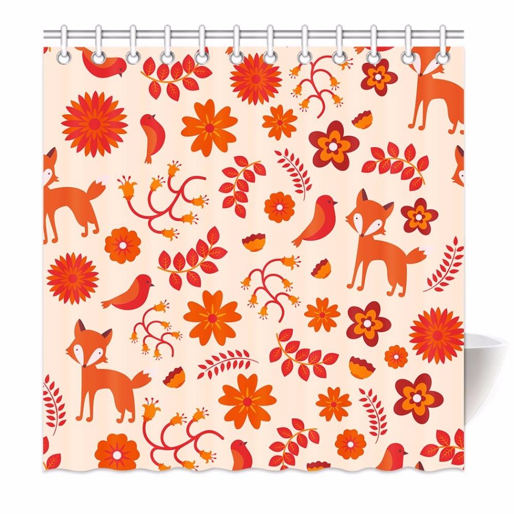 High Quality Arts Shower <font><b>Curtains</b></font> Orange Flowers Leaf Bird Fox Pattern Design Bathroom Decorative Modern Waterproof Shower