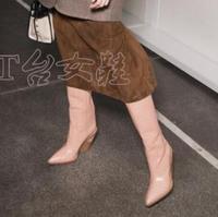 Розовый голубой ярко длинные высокие сапоги Для женщин 2019 г. высокие сапоги из натуральной кожи вклинивается не сужающийся к низу каблук Са