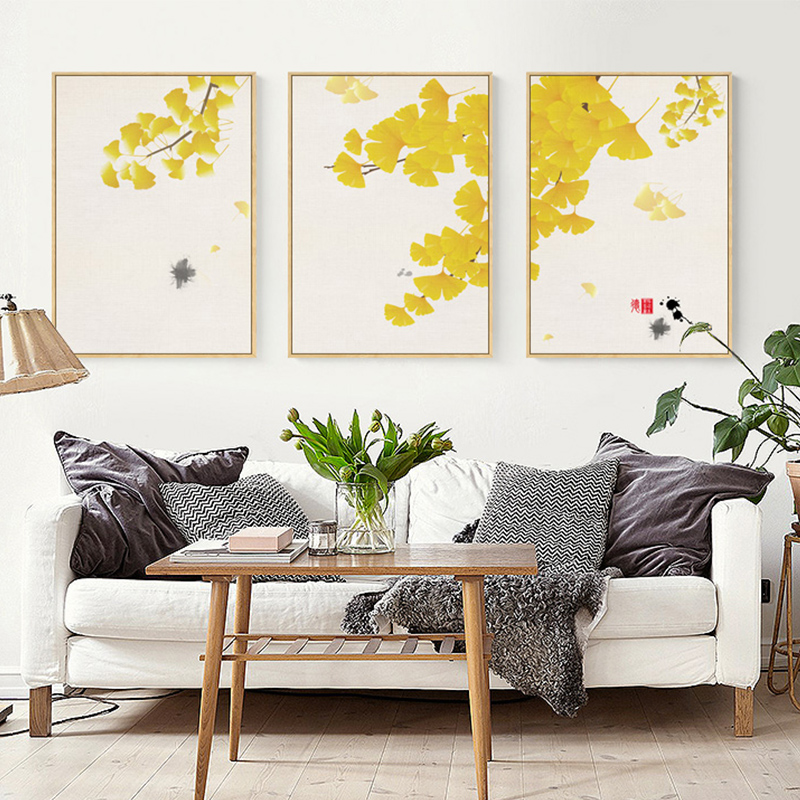 Modern Landscape Canvas Painting Autumn Gold Flowers Plants Posters and Fashion Home Decor Art Wall Pictures For Living Room