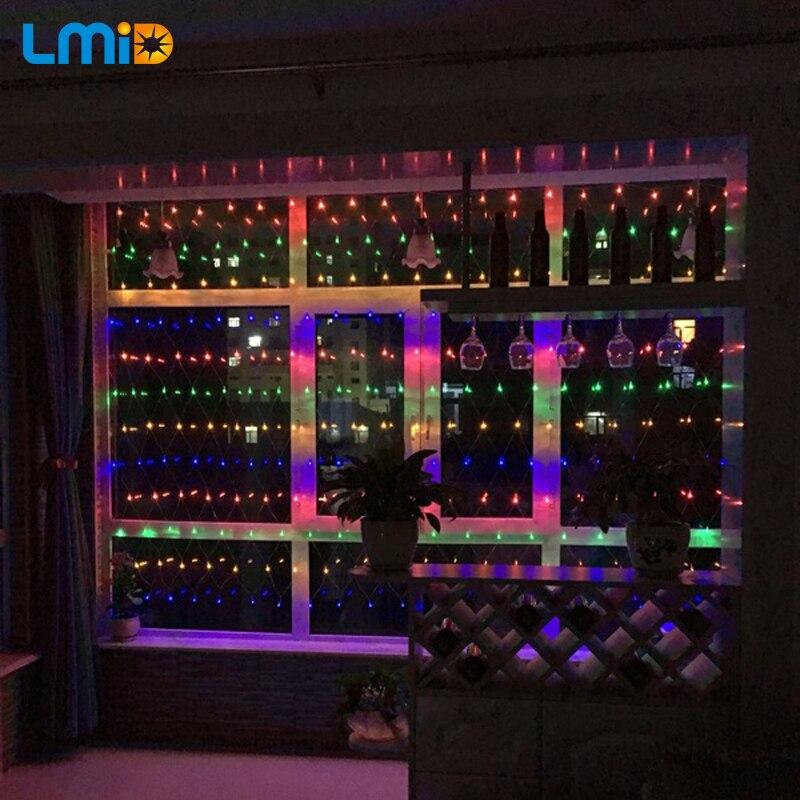 LMID Decoration LED Light 2M*2M 210 LEDs Net Light Christmas Holiday LED Lighting String 8Modes Flashing Light Background
