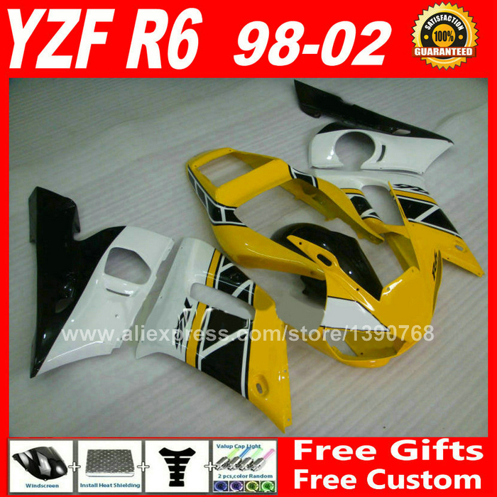 Cheap Fairings for 1998 - 2002 YAMAHA YZF R6 yellow plastic parts 1999 2000 2001 98 99 00 01 02 fairing kit C9Z1