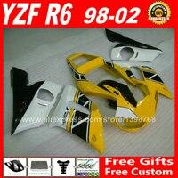 Tanie żółte plastikowe Fairings dla 1998-2002 YAMAHA YZF R6 części 1999 2000 2001 98 99 00 01 02 fairing kit C9Z1