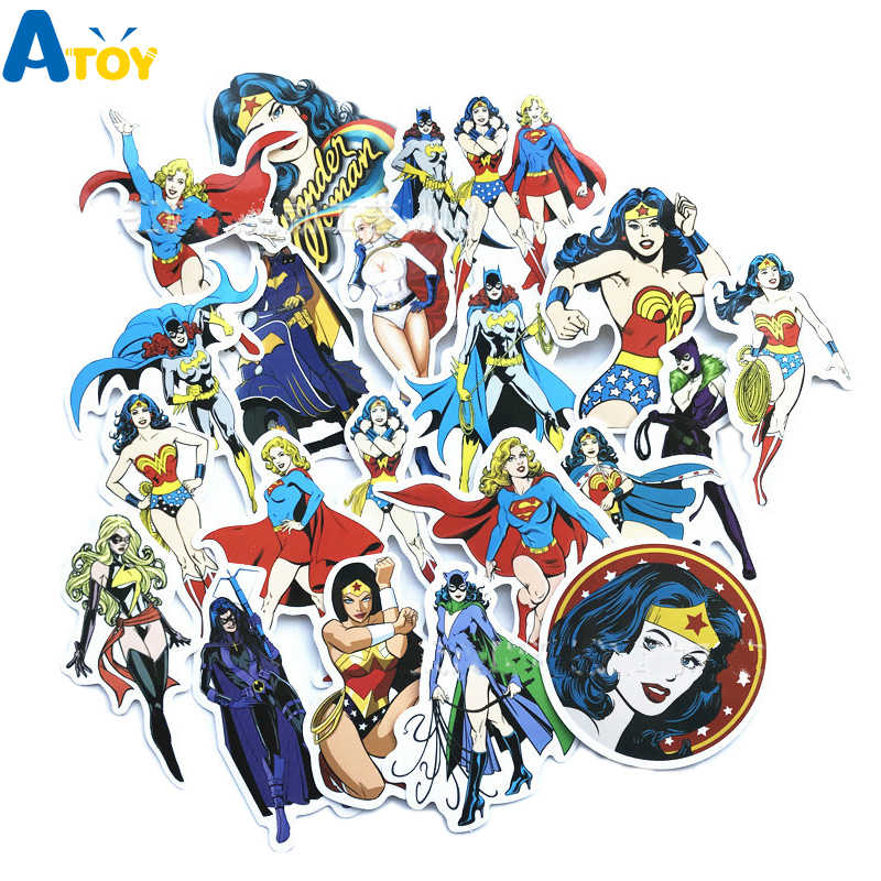 20PCS Marvel Hero Wonder Woman Graffiti Adesivo Valigia Marvel Super Hero Autoadesivo Del Fumetto di Skateboard Del Computer Portatile Chitarra Bike Sticker