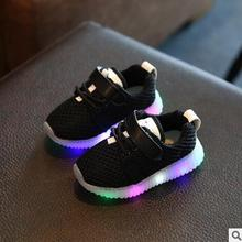2017 New Boys Girls Casual Shoes With Flash LED Children Breathable Running Shoes Sport Shoes Cartoon Baby Glowing Sneakers(China)