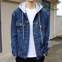 VERSMA 2017 Spring Japanese Harajuku BF Oversized Hooded Denim Shirt Men Shirt Long Sleeve Hip Hop