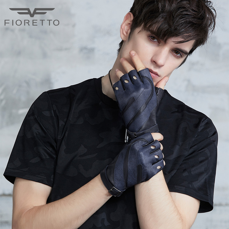 FIORETTO Mens Leather Fingerless Gloves with Bands Patched Unlined Half Fingers Male Driving Gloves Driver Rider