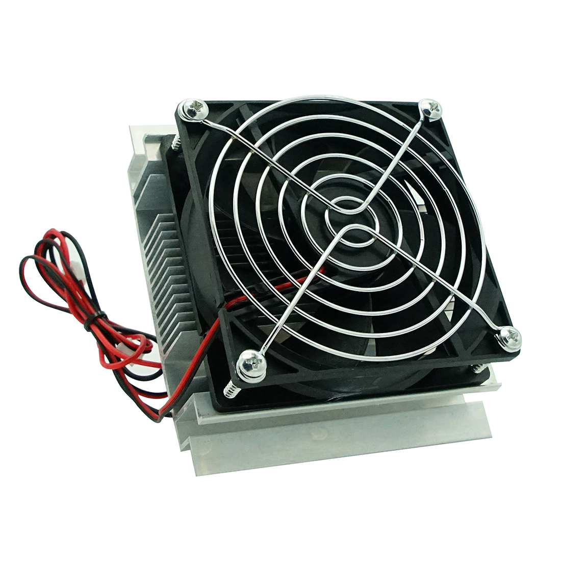 DIY Thermoelectric Peltier Refrigeration Radiator Semiconductor Cooling System Kit Cooler Conduction Module Fan - Silver + Black