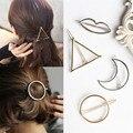 2017 Fashion Gold Silver Moon Star Triángulo Redondo Labios de Aleación de Horquilla barrettes de la pinza de Pelo Accesorios de Moda headwear personalit