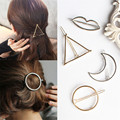 2017 Fashion Gold Silver Moon Star Triangle Round Lips Hairpin Alloy Fashion Hair Accessories headwear clip barrettes personalit