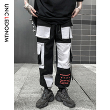 купить UNCLEDONJM Color Block Mens Sweatpants Fashion Track Pants Hip Hop Spring Fall Streetwear Midweight Loose Harem Jogger 543W по цене 1946.28 рублей
