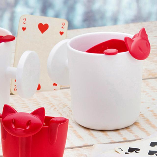 Plastic Tea Infuser Cartoon Kitten Tea Strainer Kitchen Tools Drinkware