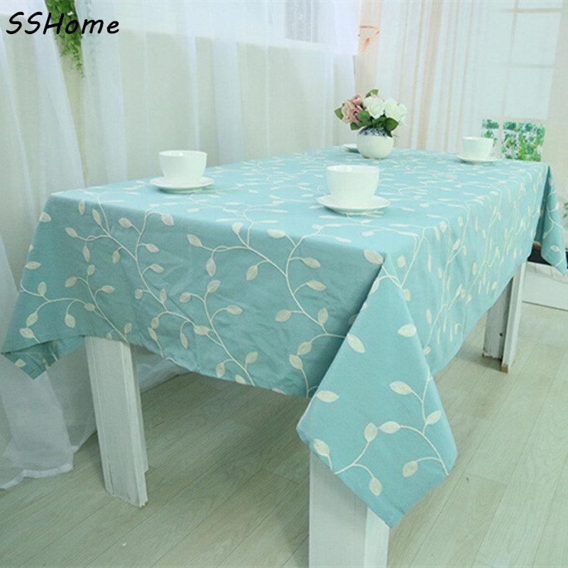 bordado bordado crochet mesa cuadrada mantel rectangular mantel hoja de cubierta azul textiles para el hogar