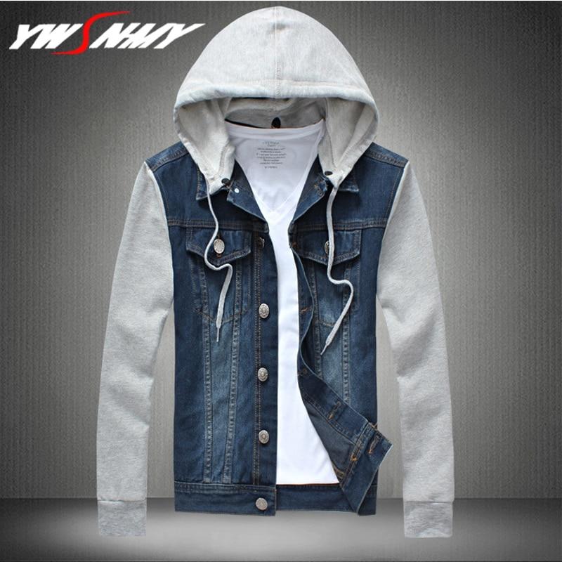 Stitching Slim Mens Denim Hoodies Plus Size S-5XL Bomber Jacket Casual Men Cowboy Mens Jean Jacket Chaqueta Hombre