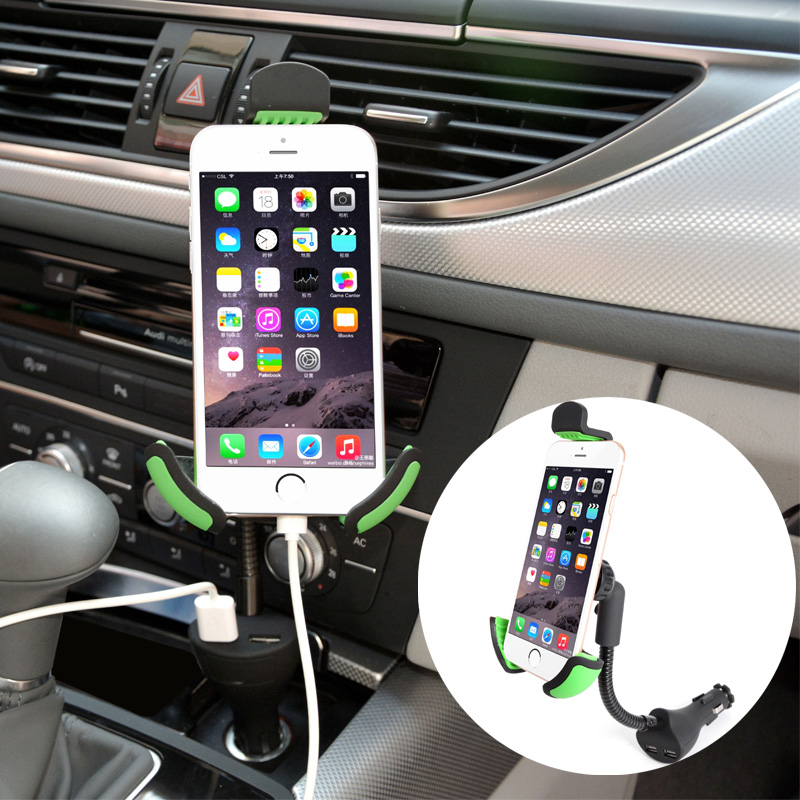 Universal 2 Ports Dual Usb Car Charger Adapter Phone Charging Soporte Movil Car Phone Holder Charger