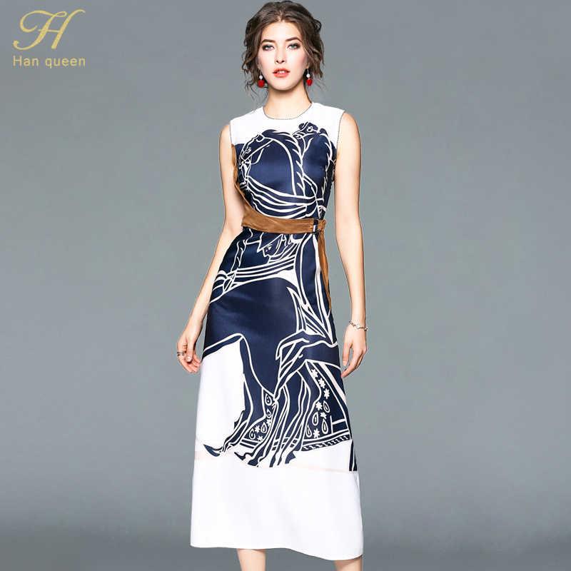 H han reine robe d'été élégante sans manches mode Slim o-cou fête travail robes décontractées femmes Vintage impression Long Vestido