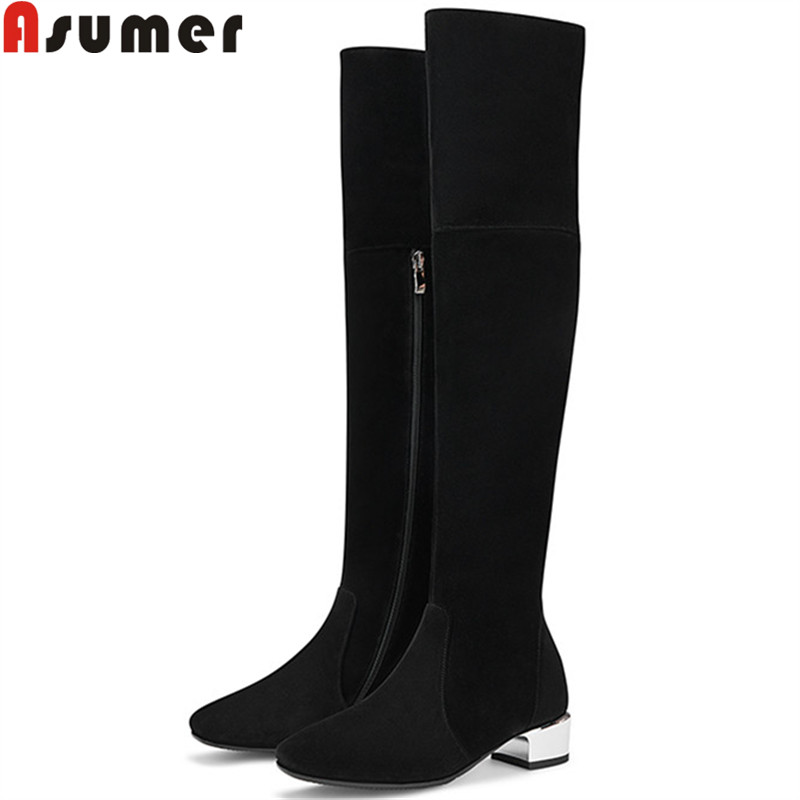ASUMER 2019 new suede leather boots square toe zip med heels shoes over the knee boots black autumn winter boots women big sizeASUMER 2019 new suede leather boots square toe zip med heels shoes over the knee boots black autumn winter boots women big size