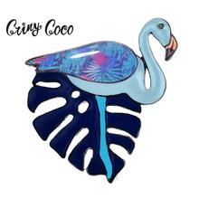 Cring Coco Cute Flamingo Enamel Pin Jewelry Big Leaf Brooches New Design Alloy Cartoon Brooch Woman Pins for Backpacks