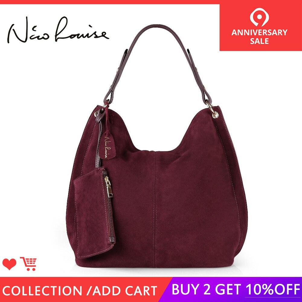 Нико Louise для женщин реальные разделение замши кожаная торба, сумка дизайн женский досуг большой сумки на плечо с Кошелек Путешествия повсед...