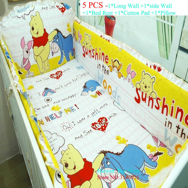 Promotion Dinsey Organizer Bumper Sheet 5pcs Baby Boy Crib Cot Bedding Set Baby Nursery Set Include (Bumpers+sheet+pillow Cover) promotion 4 5pcs baby crib bedding sets baby nursery cot set