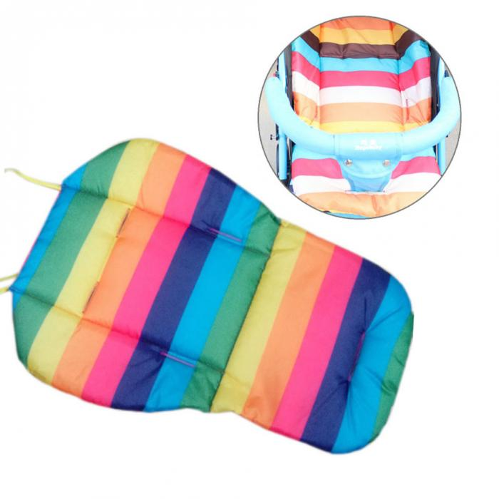 Soft Thick Pram Cushion Chair BB Car Umbrella Cart Seat Pad Cushion Cotton Striped Liner Infant Stroller Mat For Baby Kids