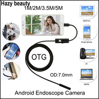 Hazy Beauty 5m 3 5m 2m 1m USB Android Endoscope Camera 7mm Len Snake Pipe Inspection