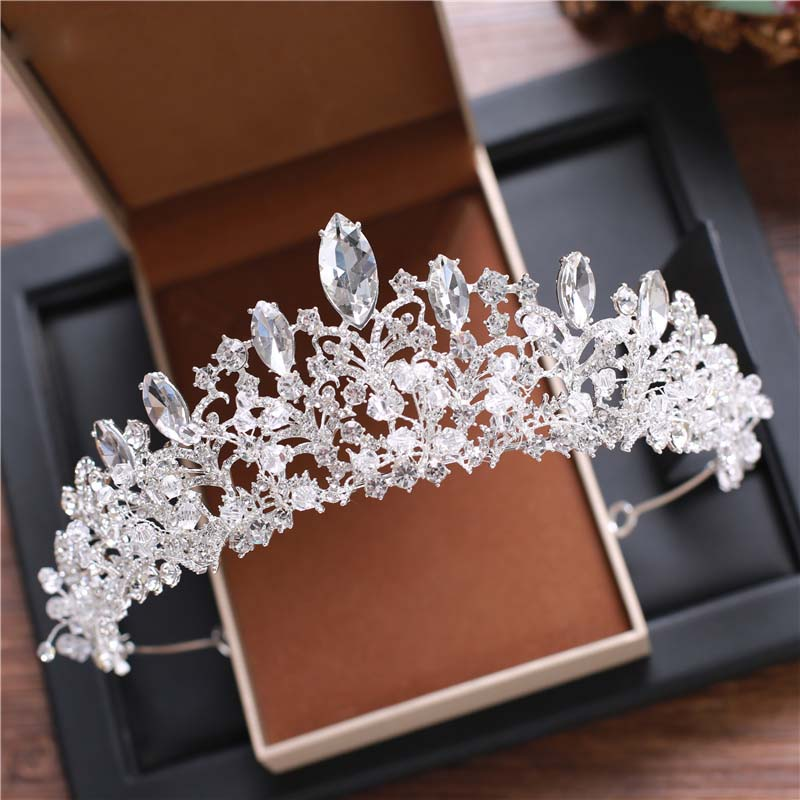 European style big crown headwear bride wedding tiara bride makeup headdress princess crown wedding style handmade vogue big mesh fascinators hats for women party wedding bride show banquet rhinestone headwear hat shooting headdress
