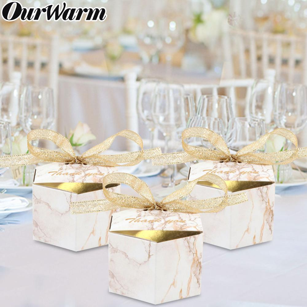 OurWarm 10Pcs Marble Style Hexagon Candy Box Wedding Favors Paper Gift Boxes With Ribbon Baby Shower Birthday Party Supplies