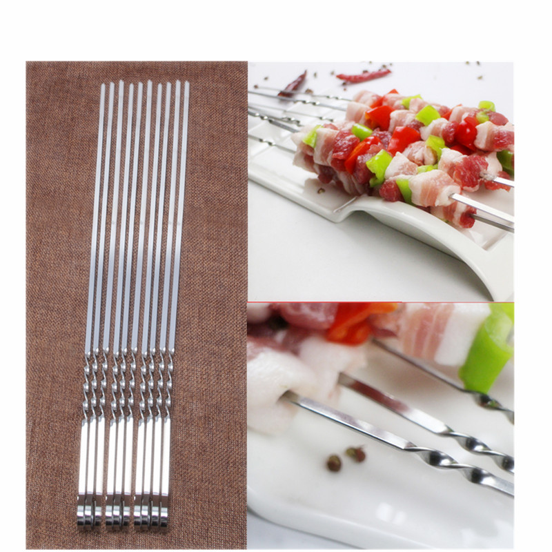 10Pcs Stainless Steel Flat Meat Skewers For Outdoor BBQ Barbecue Z07 Drop Shipping