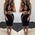 2017 de primavera y verano del vendaje de bodycon dress negro hollow out lace arriba dos piezas conjuntos sexy party night club dress vestidos